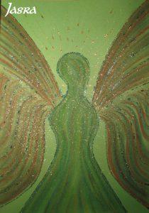 Schutzengel, grün, silber