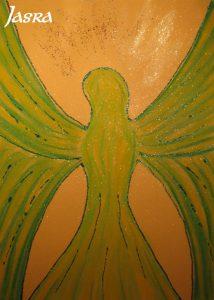 Schutzengelbilder, grün, silber