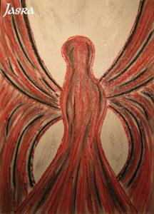 Schutzengel, rot-schwarz, silber