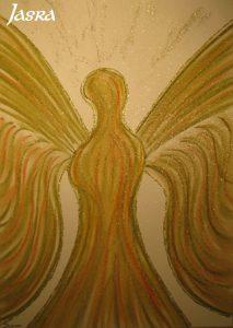 Schutzengel, gelb-braun, silber