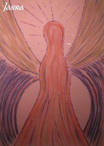 Schutzengelbilder, rosa-lila, silber