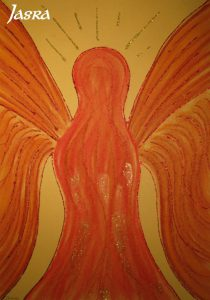 Schutzengelbilder, rot, gold