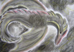 Drachen, Pastellkreide, Kraftbild